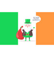 irish santa claus in tall hat greets with new year vector image