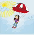 little cute boy jumping with parachute vector image vector image