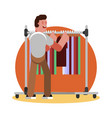 man choosing clothing vector image vector image