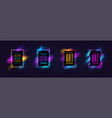 modern frames with dynamic neon glowing vector image