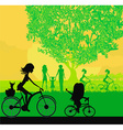 Mother and daughter biking in the park vector image