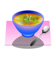 Mushroom soup in a deep plate with spoon vector image