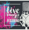 poster for a live music festival with a microphone vector image vector image