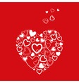 red Valentines Day Card with hearts vector image