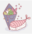 salad and sushi japanese menu restaurant food cute vector image