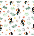 seamless pattern with toucan cute animal vector image vector image