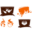 set bowling silhouette icons vector image vector image