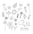 Set of doodle flowers and plants vector image