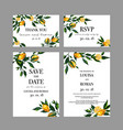 set of watercolor wedding cards with lemon vector image vector image