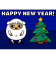Sheep with christmas tree vector image