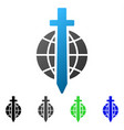 sword globe flat gradient icon vector image vector image
