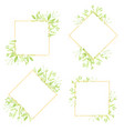 watercolor green leaves gold glitter wreath frame vector image vector image
