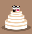 wedding cake with funny pandas vector image