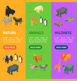 wild animals 3d banner vecrtical set isometric vector image