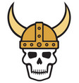 human skull and viking helmet vector image
