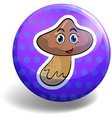 Fresh mushroom on badge vector image