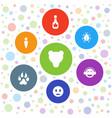 7 cartoon icons vector image vector image