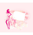 abstract floral fashion girl silhouette poster vector image vector image
