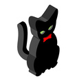 Black Cat isometrics Pet with red bow tie Animal vector image vector image