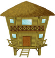 Bungalow made of wood and straws vector image vector image