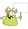 Cartoon alien holding a sign vector image vector image
