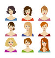 cartoon color woman hairstyles icons set vector image