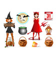 cartoon icons set for halloween vector image vector image