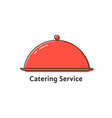 catering service with red linear dish vector image