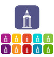 church icons set flat vector image vector image