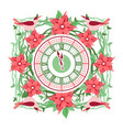 clock frame flowers vector image