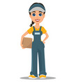 courier woman holding carton box professional vector image
