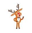 Deer Singing Song Isolated on White Reindeer vector image vector image