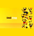 emoji group yellow winking face funny cartoon vector image