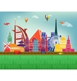 famous world landmarks icons vector image vector image