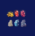 fantasy stones and sparkling crystals set user vector image