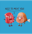 funny meat characters cheerful food emoji vector image