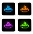 glowing neon nachos in plate icon isolated on vector image vector image