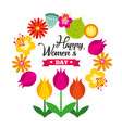 greeting card with 8 march happy vector image
