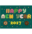 Happy New Year 2017 Donuts font vector image vector image
