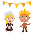 happy thanksgiving day indian boy and pilgrim vector image
