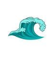 icon of curling sea wave blue ocean water vector image vector image