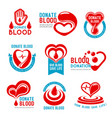 icons for blood donation or donor day vector image