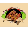 Image of four skewers with pieces shashlik vector image
