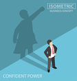 Isometric businessman with his superhero shadow vector image