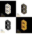isometric set letter b black white gold palette vector image vector image