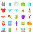 korean cosmetics icons set cartoon style vector image vector image