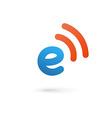 Letter E wireless logo icon design template vector image
