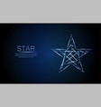 low polygonal glowing five angles star vector image