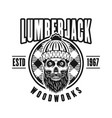 lumberman skull with beard in circle emblem vector image vector image