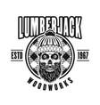 lumberman skull with beard in circle emblem vector image